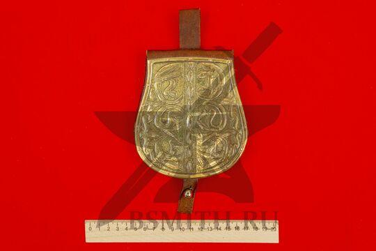 Сумка венгерская с чеканкой, вариант 2, коричневая, подкладка кожа, фото 4