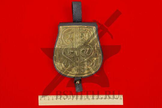 Сумка венгерская с чеканкой, вариант 2, черная, подкладка кожа, размеры