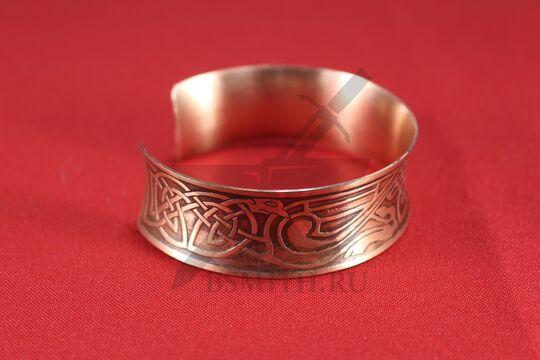 """Браслет вогнутый широкий """"Кельтские драконы"""", медь, фото 2"""