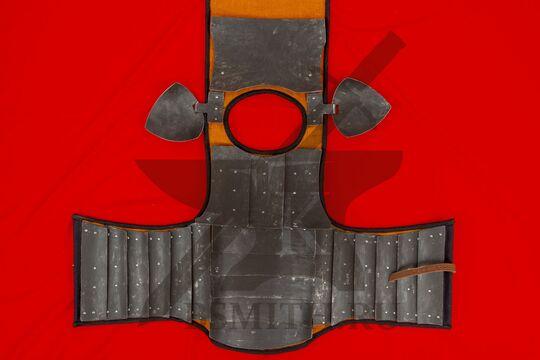 Бригандина из Визби тип 1, с наплечниками, разложенная с обратной стороны