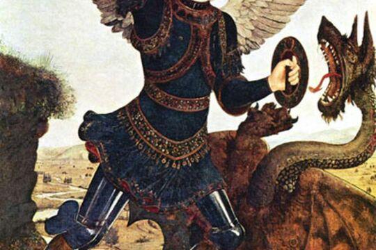"""Фальшион Святого Михаила,источник(картина Антонио дель Поллайоло """"Святой Михаил"""""""