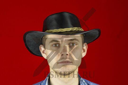 Шляпа федора кожаная черная