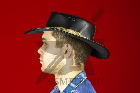 Шляпа федора кожаная черная, вид сбоку