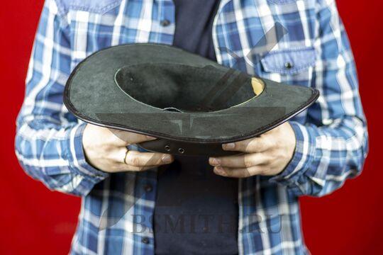 Шляпа федора кожаная черная, изнутри, фото 2
