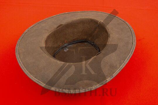 Шляпа федора кожаная, вид изнутри