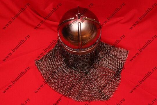 Шлем из Гьермундбю,стальные науши с подкладом, бармица открытая, фото 4