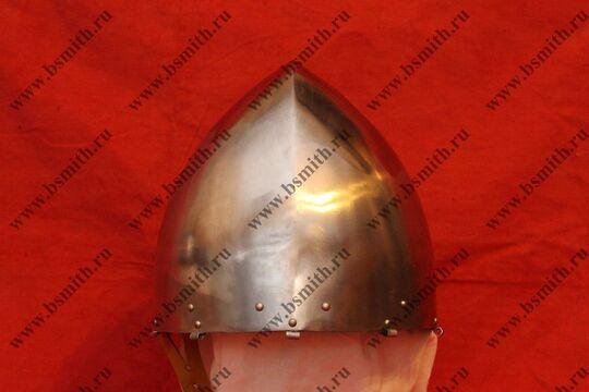 """Шлем норманнский (""""пилотка""""),крепление бармицы скобы, подбородочные ремни,фото 3"""
