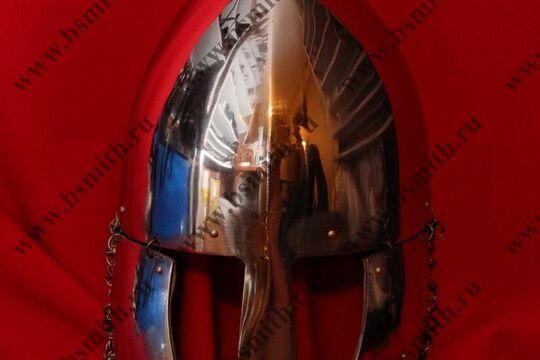 Шлем норманнский, науши, открытая бармица, полировка, фото 1