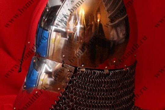 Шлем норманнский, науши, открытая бармица, полировка, фото 2