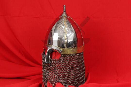 Шлем тип 2 украшенный (полировка, закрытая бармица, латунные элементы), фото 2