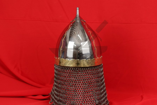 Шлем тип 2 украшенный (полировка, закрытая бармица, латунные элементы), фото 3