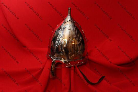 Шлем тип 2 украшенный (купол, полировка, крепление бармицы, подбородочные ремни), фото 2