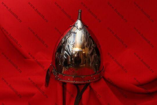 Шлем тип 2 украшенный (купол, полировка, крепление бармицы, подбородочные ремни), фото 3