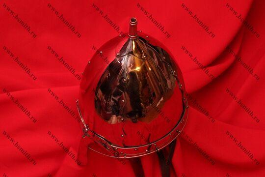 Шлем тип 2 украшенный (купол, полировка, крепление бармицы, подбородочные ремни), фото 4