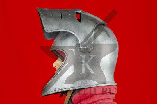 """Шлем бацинет """"For Honor"""", пластик, с поднятым забралом, вид сбоку"""