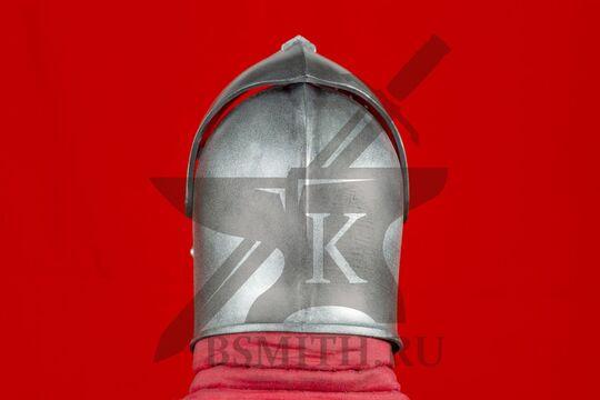 "Шлем бацинет ""For Honor"", пластик, с поднятым забралом, вид сзади"