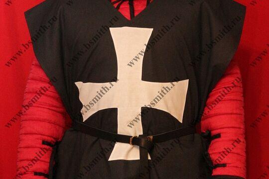Котта д'арм черная с белым крестом, бязь, фото 1