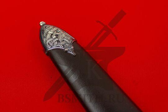 Каролинг из Сконе с посеребренным набором, в ножнах, наконечник ножен крупно, фото 2
