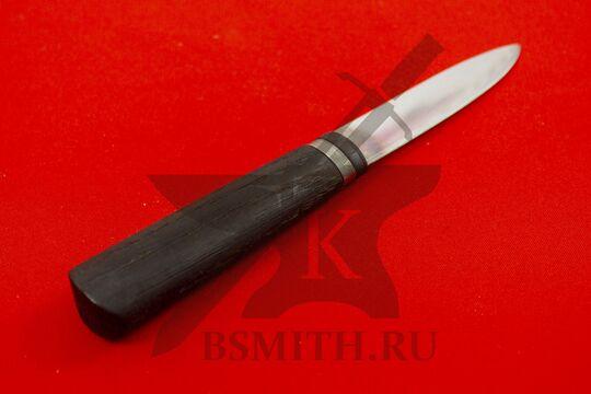 Нож бытовой, дуб обожженный, с обмоткой со стороны рукояти