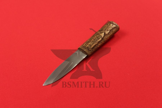 """Нож бытовой средневековый """"Птицы"""", вид со стороны клинка"""