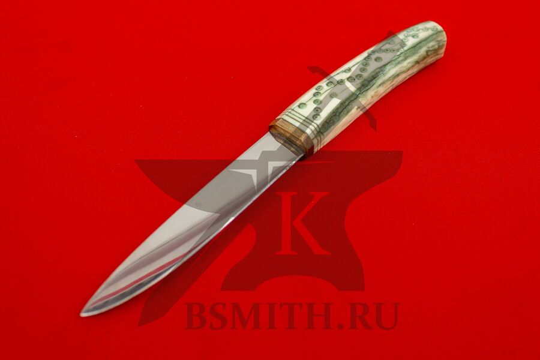 Нож с костяной рукоятью, вариант 4, вид со стороны клинка