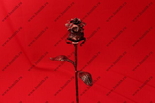 Кованая роза с сердцем, роза под медь, сердце под золото, фото 3