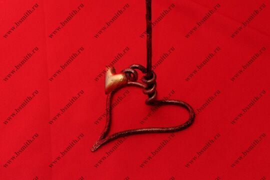 Кованая роза с сердцем, роза под медь, сердце под золото, фото 4