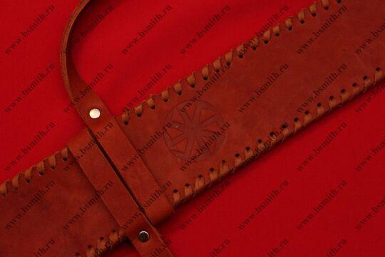 Ножны кожаные одноручные с тиснением, коричневые, фото 2
