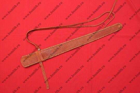 Ножны кожаные полуторные с тиснением, коричневые, фото 1