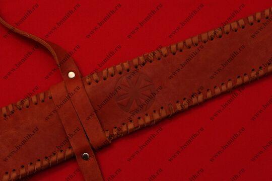 Ножны кожаные полуторные с тиснением, коричневые, фото 2