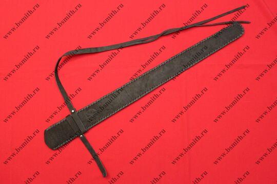 Ножны кожаные полуторные с тиснением, черные, фото 3