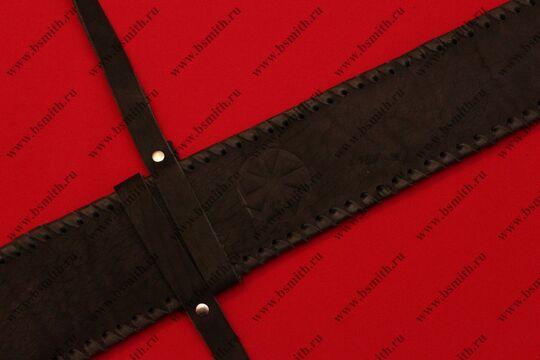 Ножны кожаные полуторные с тиснением, черные, фото 4