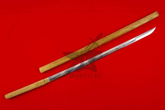 Японский меч-посох сикомидзуэ с изогнутым клинком с ножнами