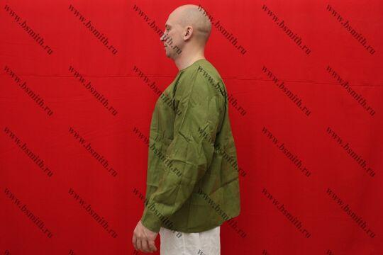 Рубаха мужская, Русь, лен зеленый, вид сбоку