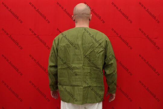 Рубаха мужская, Русь, лен зеленый, вид со спины