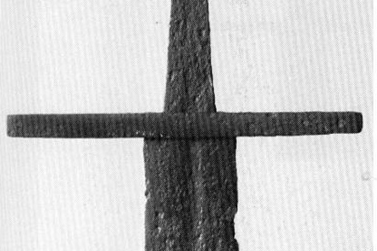 Артефакт меча тип XI из музея Копенгагена, эфес крупно