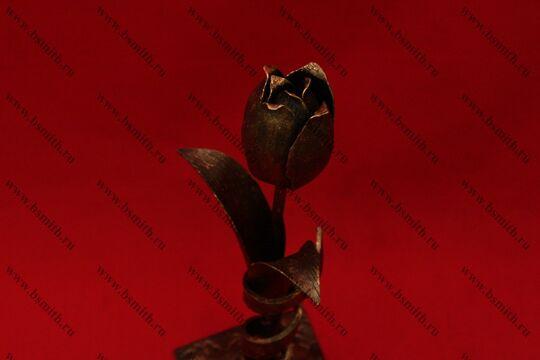 Кованый тюльпан на подставке, фото 3