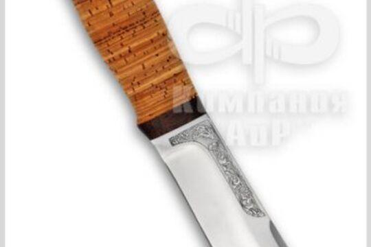 Нож Тундра, рукоять наборная береста, фото
