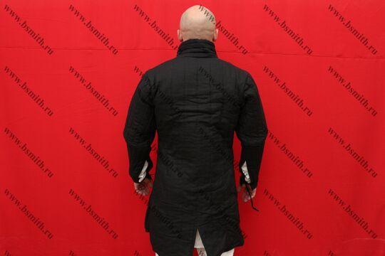 Поддоспешник длинный, 2 слоя, лен, вид со спины