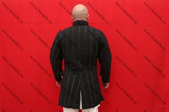 Поддоспешник длинный черный, 2 слоя, грета, вид со спины