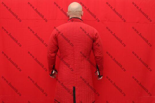 Поддоспешник длинный красный, 2 слоя, грета, вид  со спины