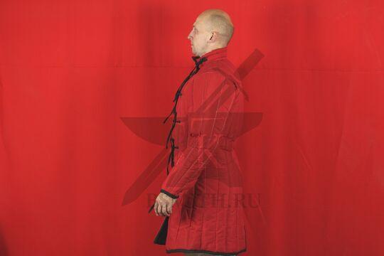 Стеганая куртка длинная красная, 4 слоя, грета, вид сбоку