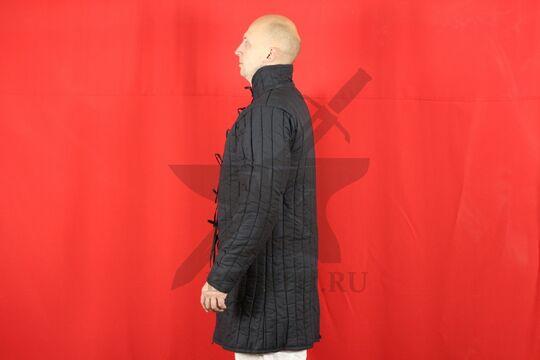 Стеганая куртка, 2 слоя, длина 100 см, х/б, вид сбоку