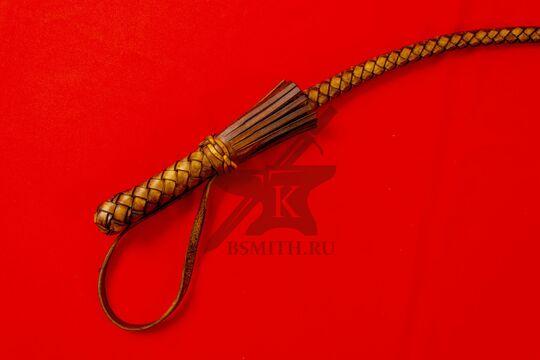 Нагайка боевая кубанского типа, 6 полос, коричневая, рукоять крупно