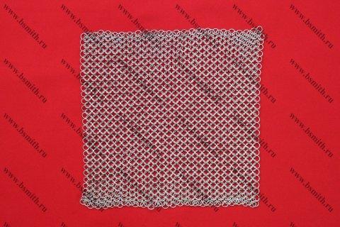 Кольчужное полотно, 30х30 см, кольца 1.6х8 мм