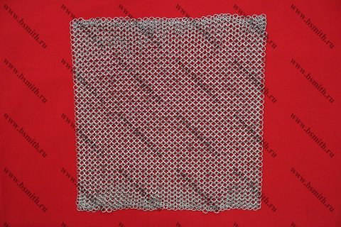 Кольчужное полотно, 40х40 см, кольца 1.6х8 мм