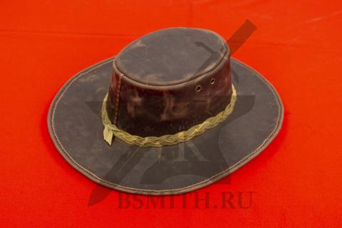 Шляпа федора кожаная
