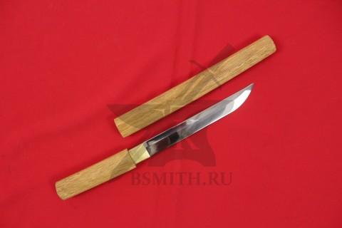 Японский меч - посох сикомидзуэ с прямым клинком, с длиной клинка танто, с ножнами