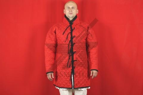 Стеганая куртка длинная красная, ромб, 2 слоя, лен