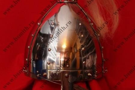 Шлем из Казазово, полировка, плюмаж, крепление по бармицу (скобы и проволока), фото 1